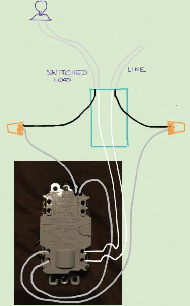 ceiling light switch wiring diagram whirlpool duet heating element need help with a gfci combo switch/outlet into current - doityourself.com ...