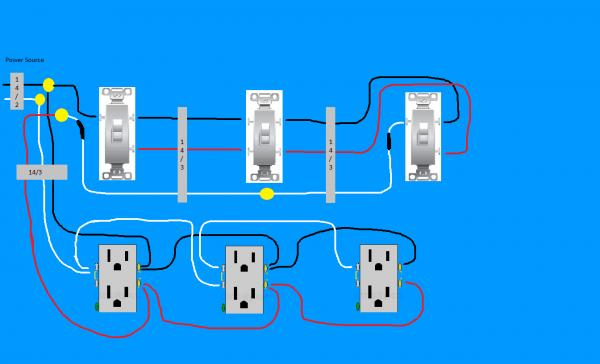 3 gang switch wiring diagram 2016 f 150 inverter multiple electrical outlet toyskids co need help on easiest way to wire split receptacles combo