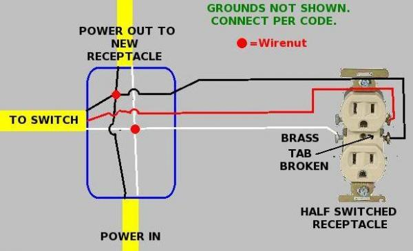 Usb Wiring Diagram Printable Putting Back Half Hot Outlet While Adding Another Outlet
