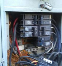 it is powering a 100a panel on the inside wall i advised my son to get rid of this nasty looking mess and install just an outside meter base with a 200a  [ 709 x 1260 Pixel ]