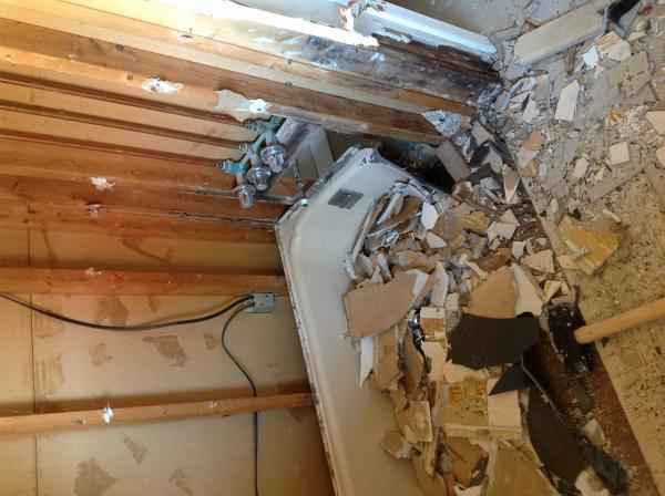 gutted bathroom slight water damage not sure to replace