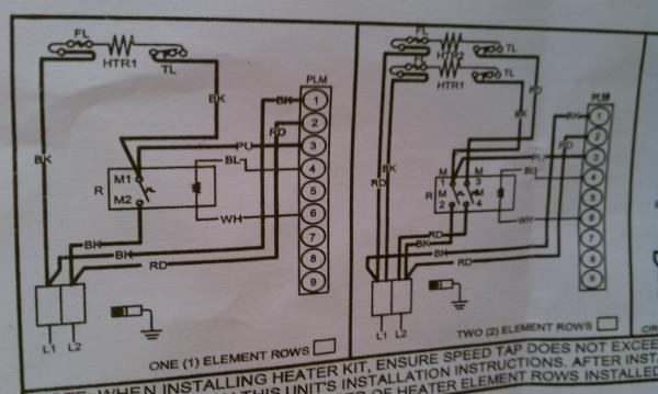 electric heat pump wiring diagram leviton switch instructions to strip for system doityourself com right currently no kit except the 2small wires white and blue coming from harness brown not used some other kits have a breaker set