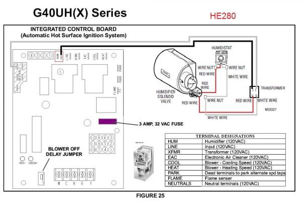 lennox wiring diagrams 1996 lexus es300 fuse box diagram problem with honeywell he280 and g40uh(x) (replacement humidifier) - doityourself.com ...