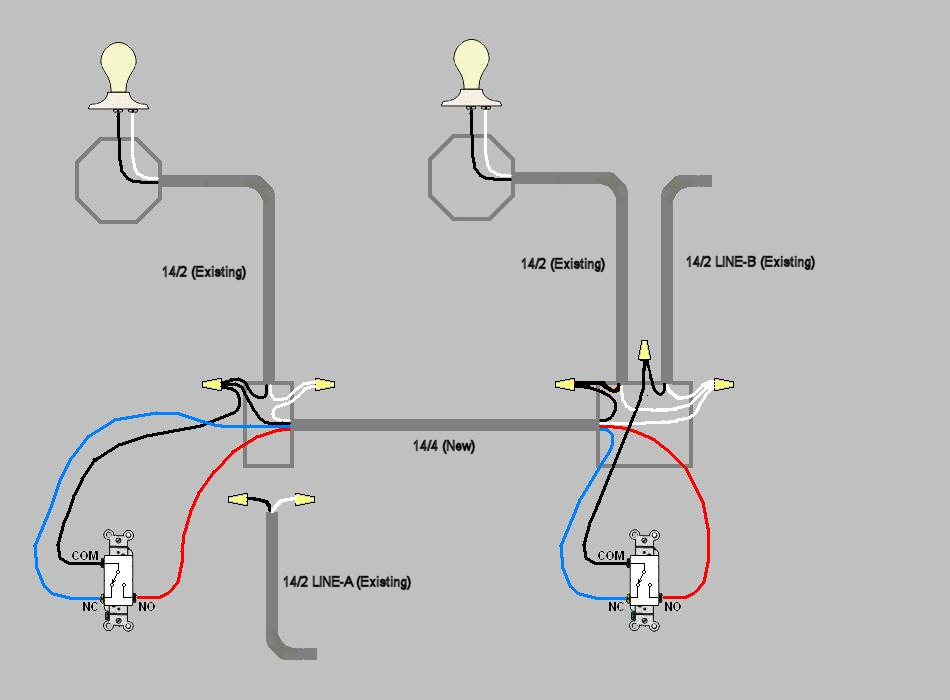 HELP converting two independently switched lights to a 3