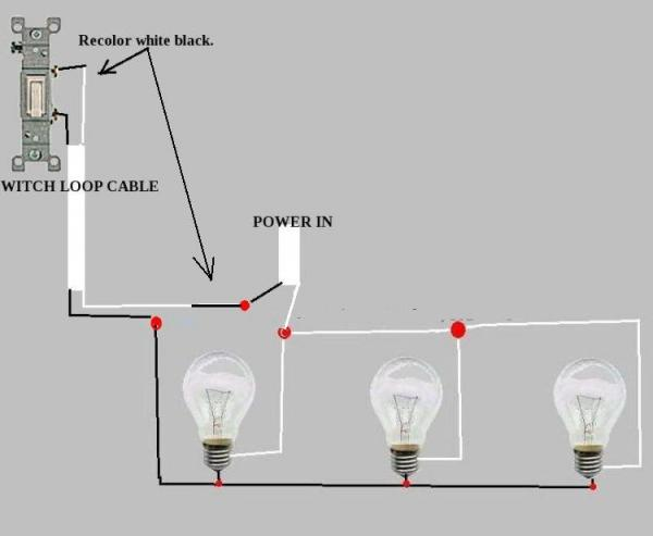 three lights one switch wiring diagram tail light velo saddle recessed installed, works but bulbs are dim - doityourself.com community forums