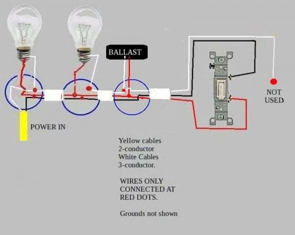 christmas light wiring diagram 3 wire vw transporter t5 stereo troubleshooting problem power-->two fluorescent ballasts-->switch - doityourself.com ...