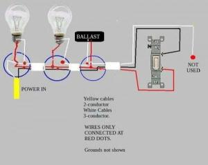 Troubleshooting problem wiring power>two fluorescent ballasts>switch  DoItYourself