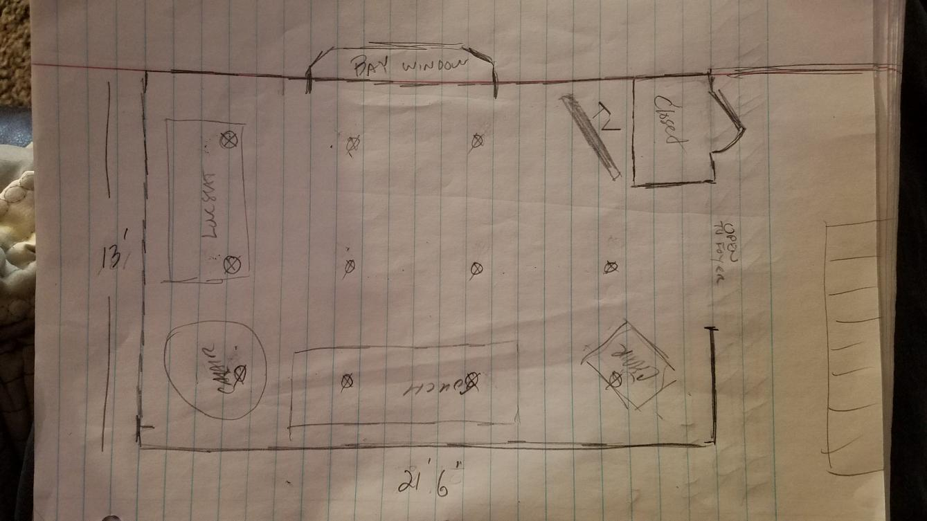 recessed lighting layout for living