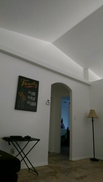 How to paint vaulted ceiling shelves and walls