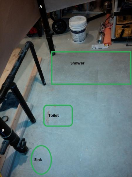 basement bathroom rough in  pipe routing pictures  DoItYourselfcom Community Forums