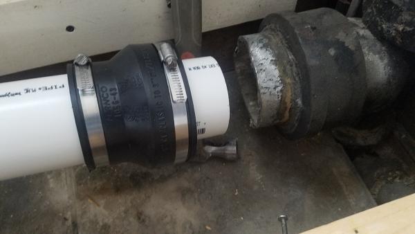 PVC to Cast Iron Toilet drain which Fernco