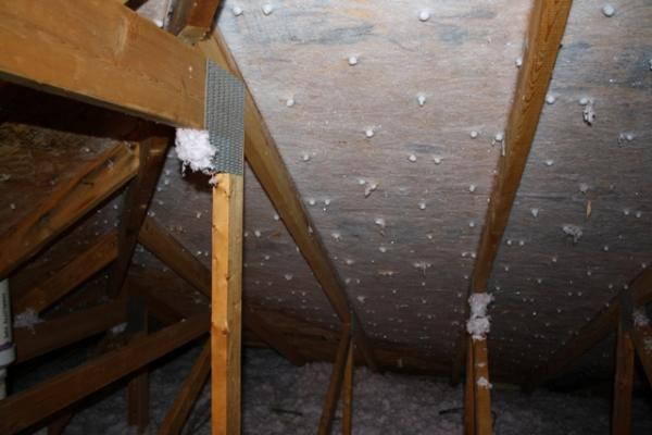 Frost  water in attic  consensation  ice buildup on
