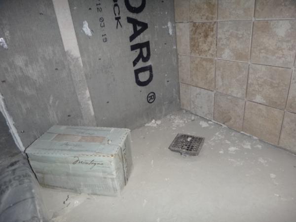 Mud shower pan drain riser and tiling  DoItYourselfcom