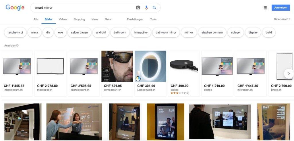 Ansicht der Google Suche nach Smart Mirror.