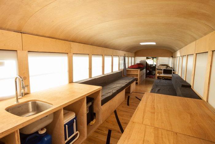 Student Completes Amazing Minimalist School Bus Conversion