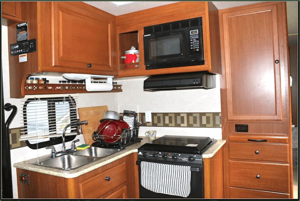 inside an rv kitchen