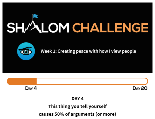 CCHF Shalom Challenge Day Four: This Thing You Tell Yourself Causes 50% of the Arguments (or more) 1