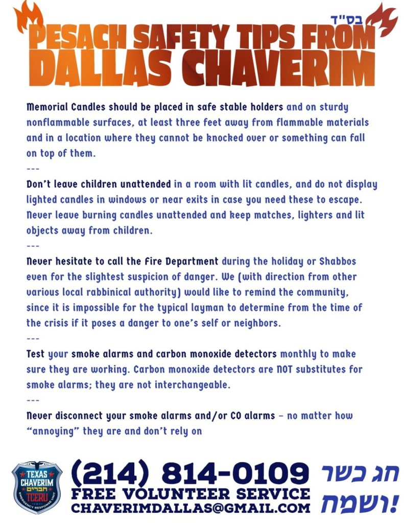 Pesach Safety Tips from Dallas Chaverim 1
