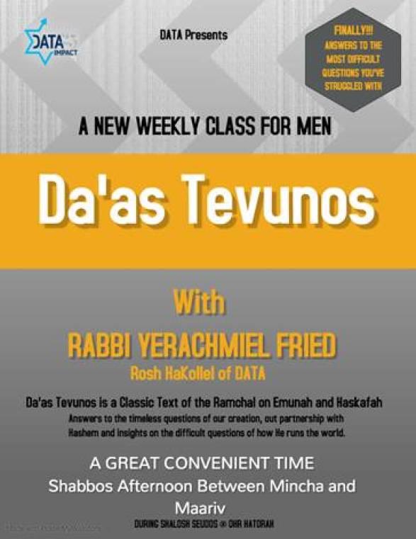 Da'as Tevunos: A New Weekly Shiur for Men by Rabbi Yerachmiel D. Fried, DATA Rosh HaKollel 1