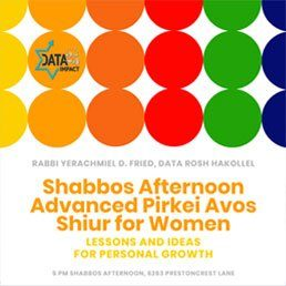 Updated Time: Shabbos Afternoon Advanced Pirkei Avos Shiur for Women with Rabbi Yerachmiel D. Fried