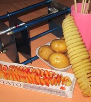 Info Mesin Produksi Makanan : Mesin Kentang Spiral Pembuat Twist Potato