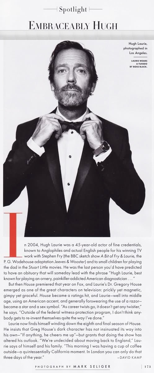 Hugh Laurie, Vanity Fair