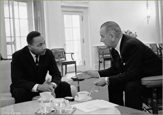 President Lyndon B. Johnson and Martin Luther King, Jr.