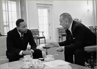 President Lyndon B. Johnson and Martin Luther King, Jr.