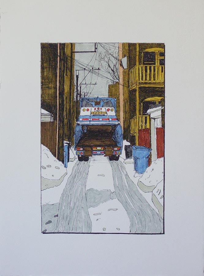Alley with Garbage Truck