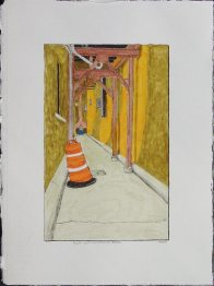 Alley with Construction Barrel