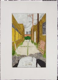 William Dolan - Alley with Pallets and Puddle