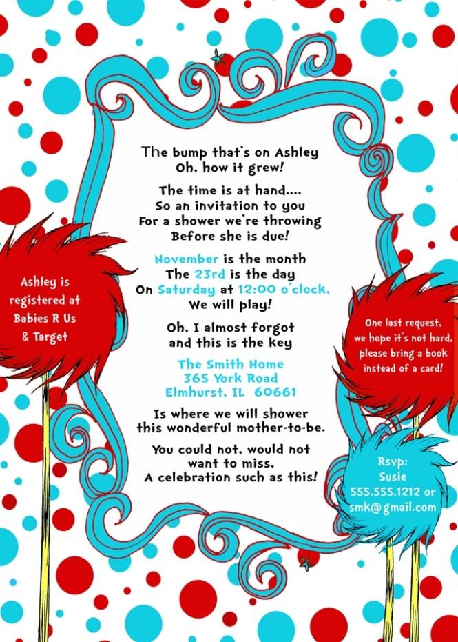 Doctor Seuss Baby Shower Invitations