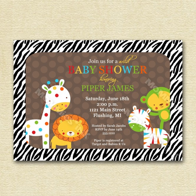 baby shower invitations jungle animal theme, Baby shower