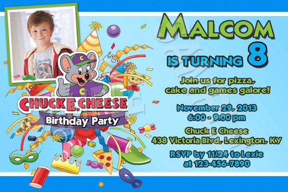 chuck e cheese birthday invitation