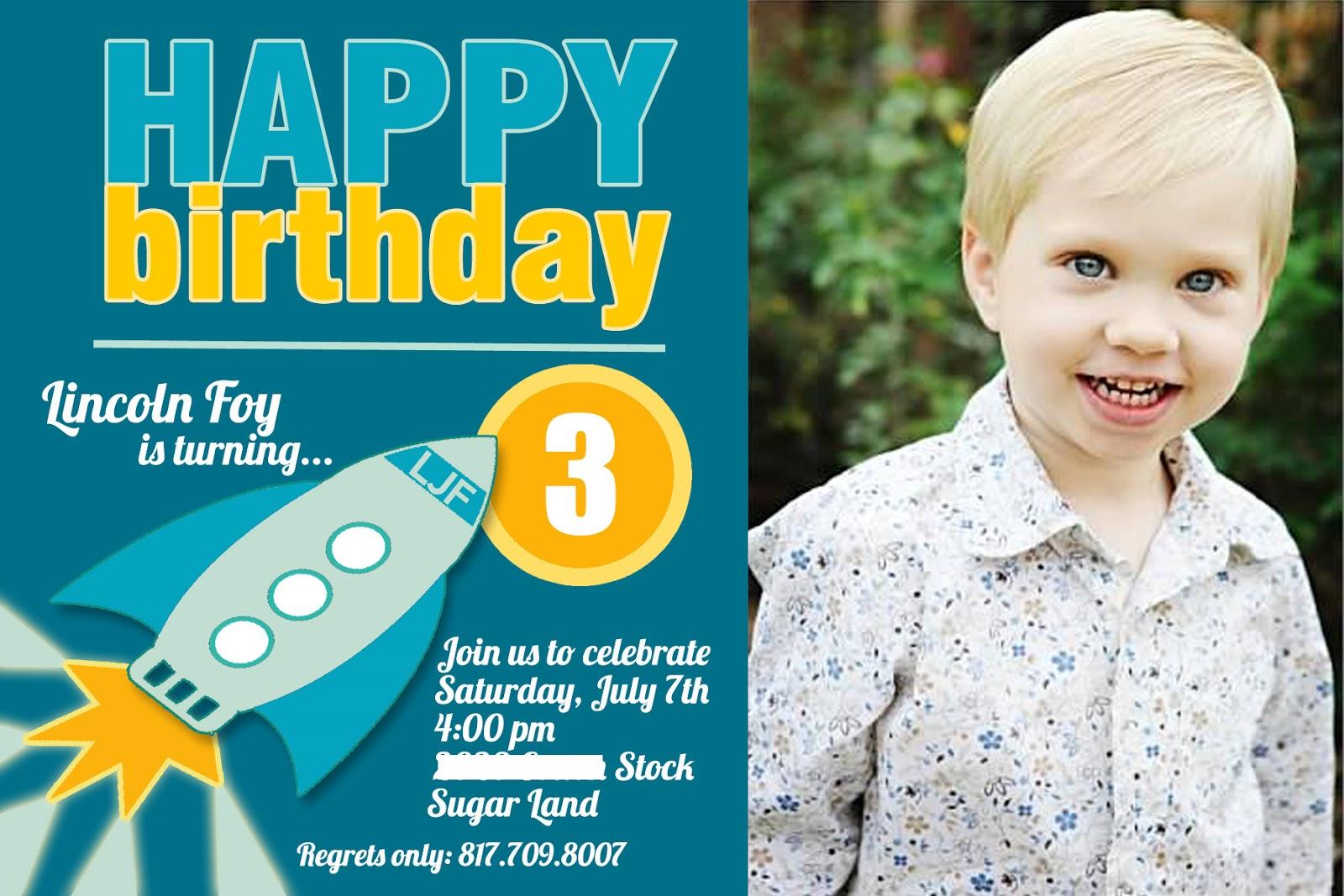 3 year old birthday invitation wording