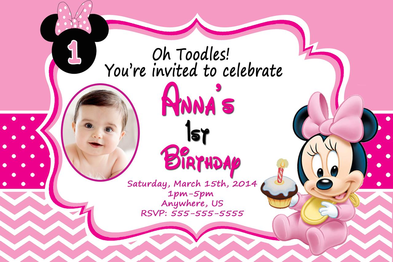 1st birthday minnie mouse invitations