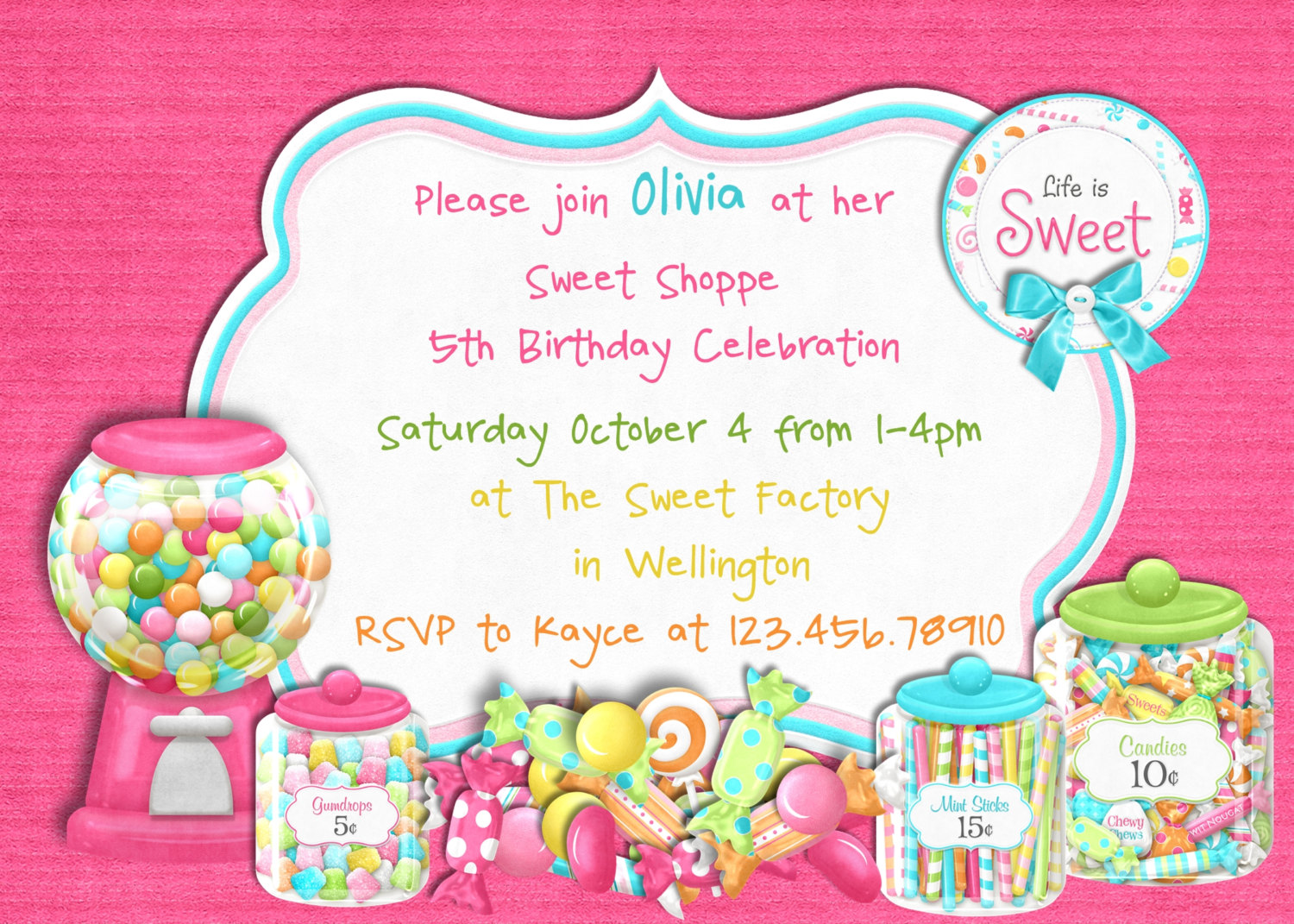 Candy Themed Birthday Party Invitations