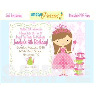 Sterling Princess Tea Party Birthday Invitations Dolanpedia