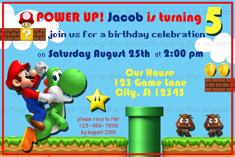 super mario birthday party invitations