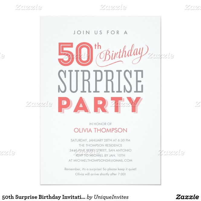 50th Birthday Invitation Wording Ideas Surprise – Surprise Birthday Invitation Wording