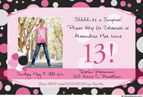 13th birthday party invitation wording