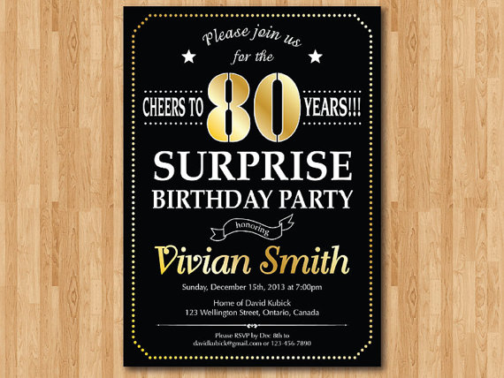 Surprise 80th Birthday Party Invitations DolanPedia