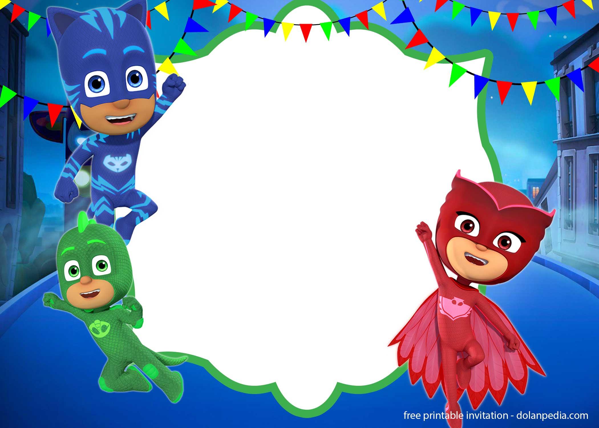 mjesto rođenja zagađenje prohladan pj masks birthday invitations