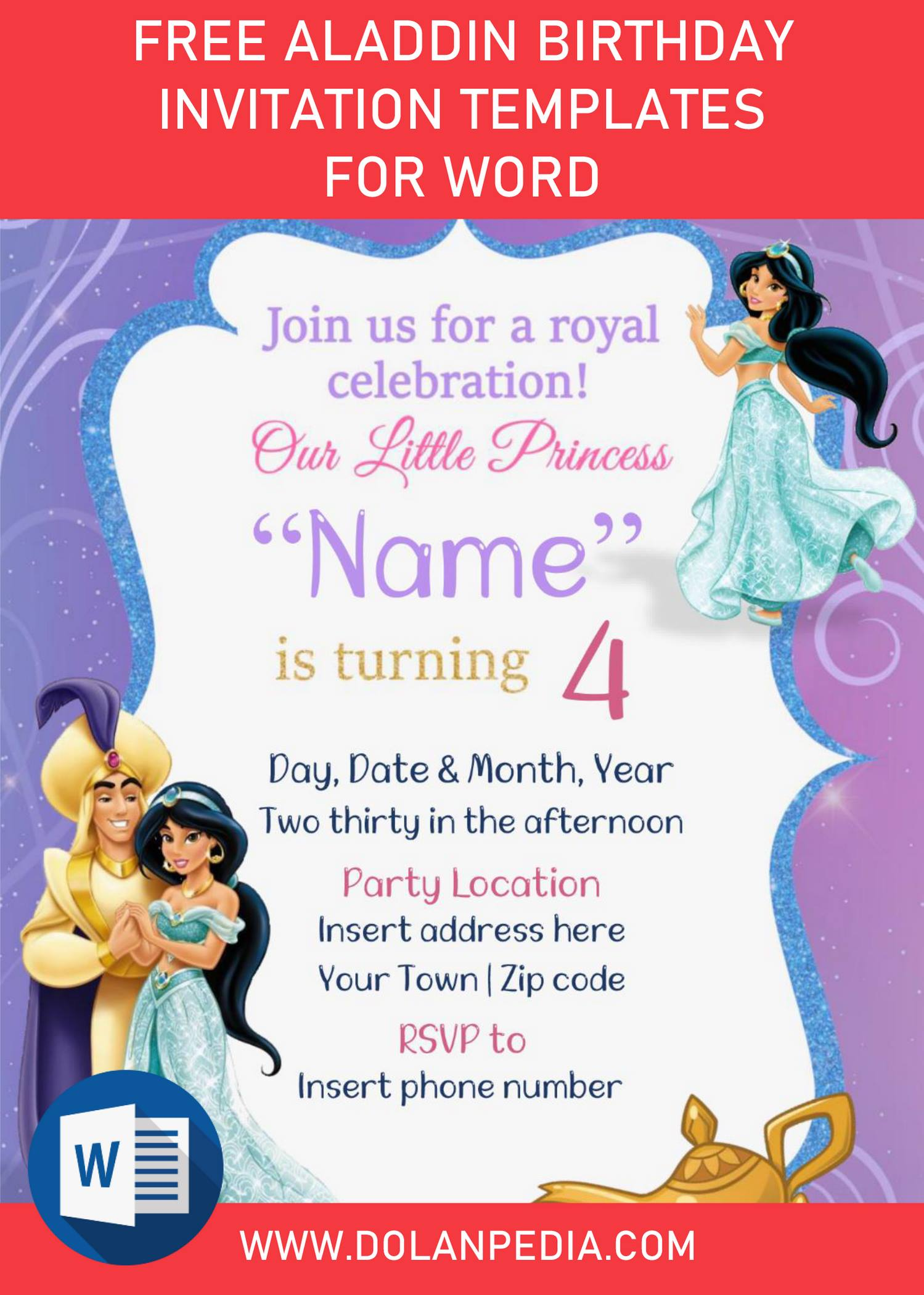 free aladdin birthday invitation