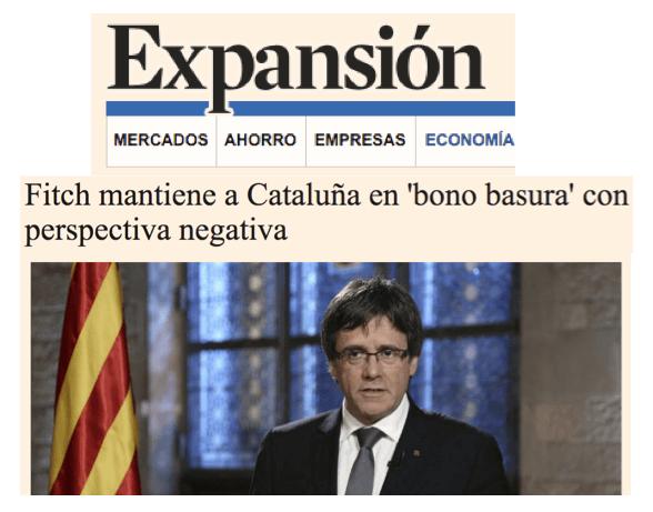 "Fitch califica el bono de la Generalitat como ""basura"" con perspectiva negativa"
