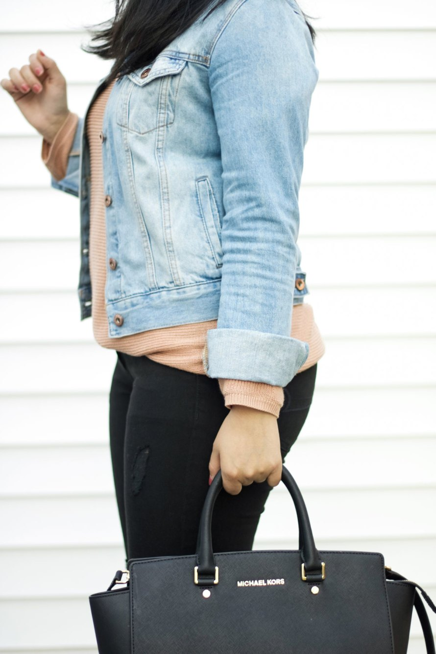 pink sweater denim jacket
