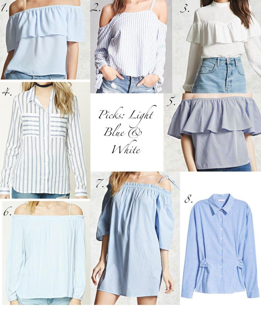 picks light blue white