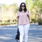 pink top white denim
