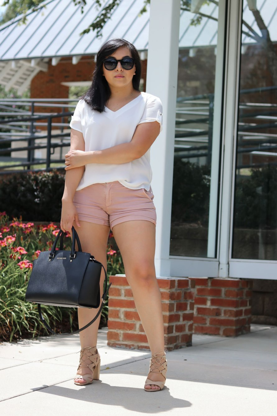 mauve shorts neutrals