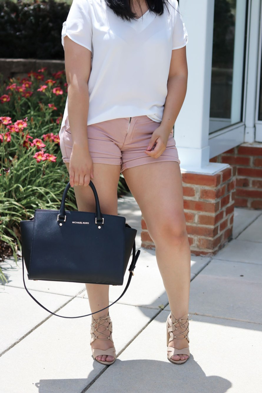 mauve shorts shirt heels summer outfit